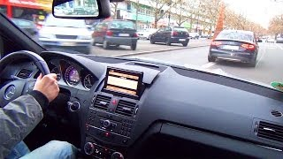 Mercedes C63 AMG Drive In The City Kickdown Acceleration Onboard V8 Sound Beschleunigung