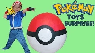 Download Youtube: Pokemon Giant Toys Surprise Egg Opening Unboxing Fun With Ash Ketchum Pikachu Ckn Toys