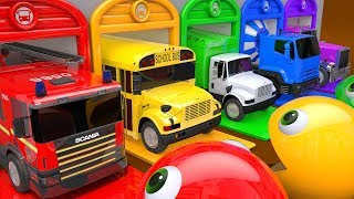 Learn Colors PACMAN VS Street Vehicle and Drop on Magic Liquids Farm Pretend Play for Kids