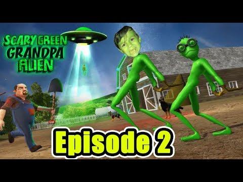 Scary Green Grandpa Alien Episode 2 (Weird Funny Game)