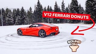 SNOW DONUTS IN MY NEW FERRARI V12! *SOUNDS INSANE*