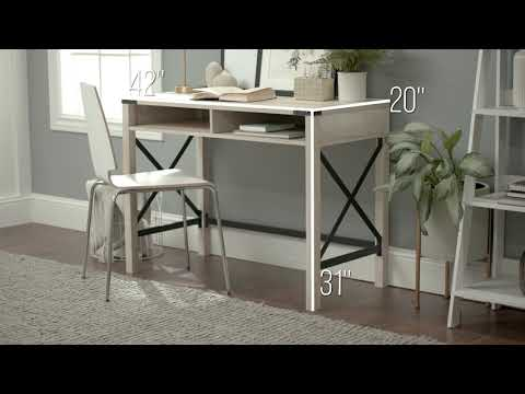 Video for White Oak 42-Inch Metal and Wood Desk