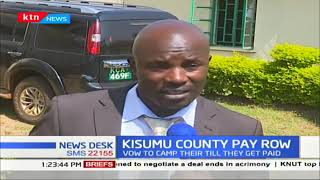 Kisumu county workers camps at the county headquarters to protest delay payment of salary