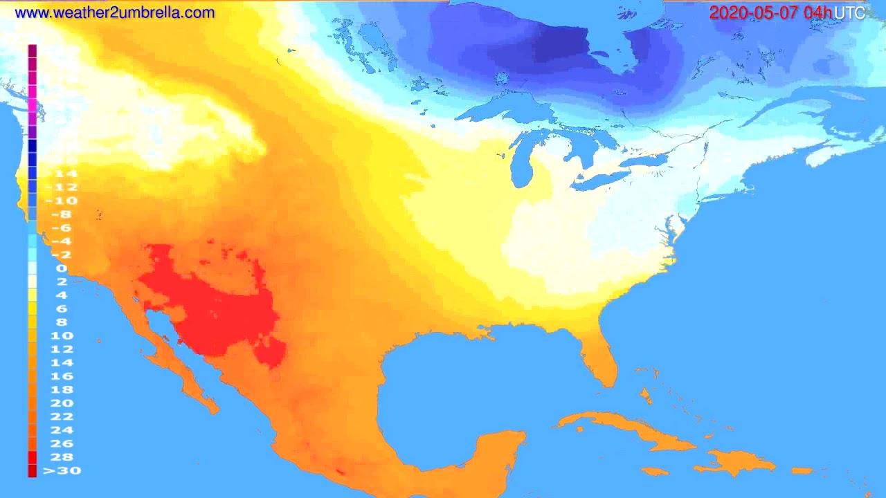 Temperature forecast USA & Canada // modelrun: 12h UTC 2020-05-06