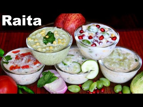 5  Raitas | Boondi Fruit Mix-Veg Kheera Lauki Raitas | CookWithNisha