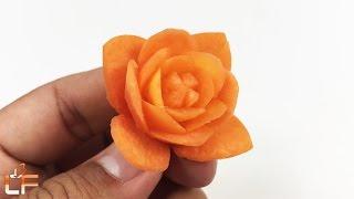 Simple Carrot Flower Carving Garnish - Art Of Vegetable Carving Designs