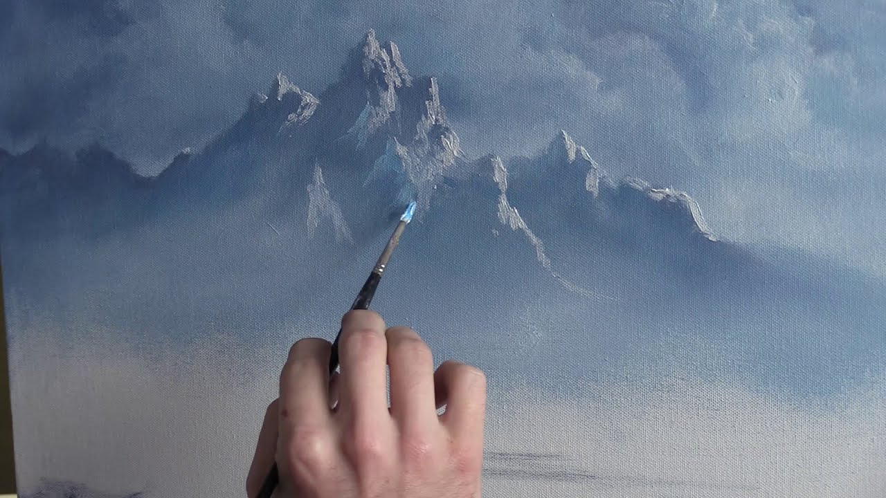 a classic mountain oil painting by kevin