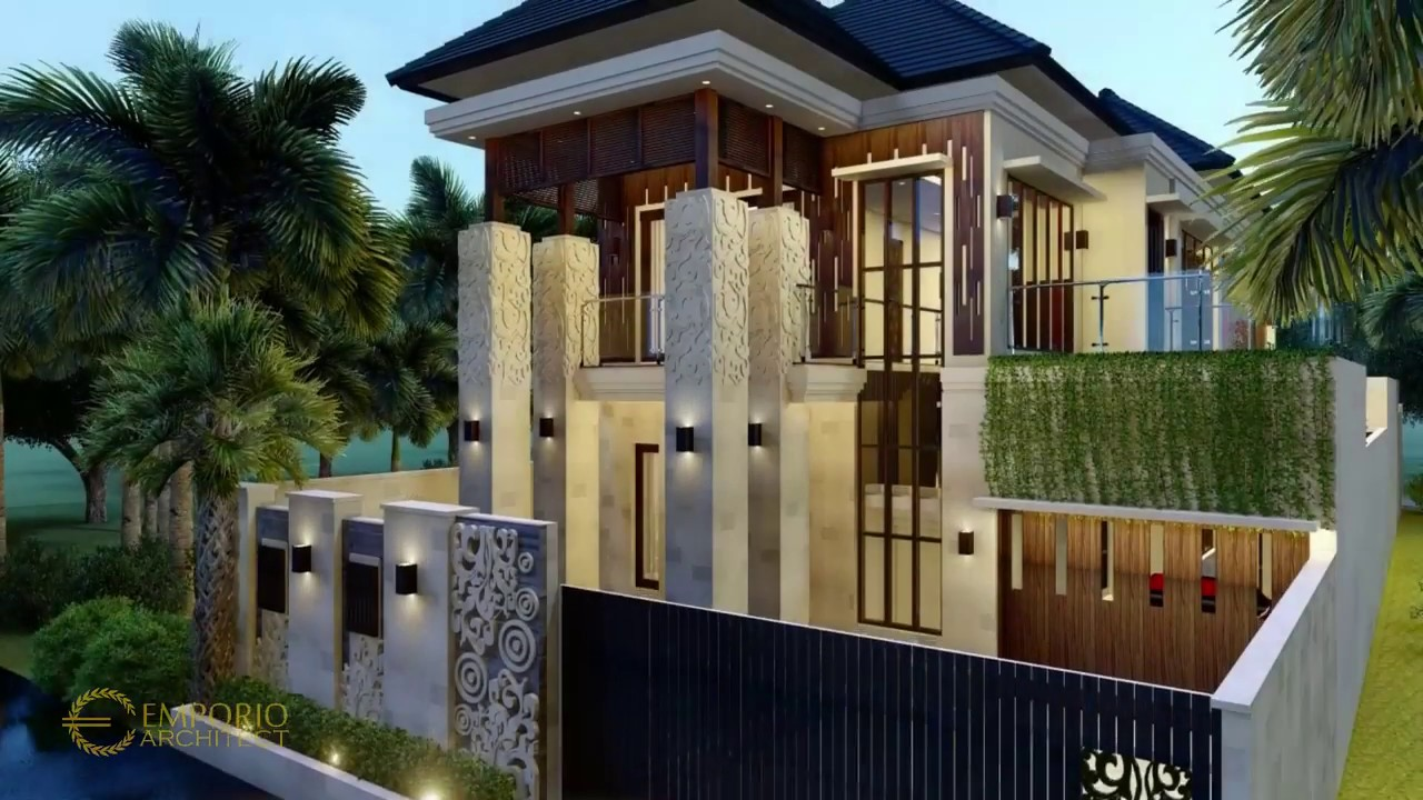 Video 3D Desain Rumah Villa Bali 2 Lantai Ibu Rina di Lampung