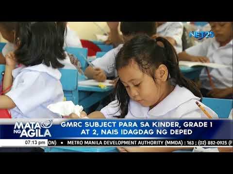 [EagleNewsPH]  GMRC subject para sa kinder, grade 1 at 2, nais idagdag ng DepEd