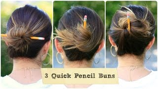 3 Quick Pencil Bun Ideas | Back-to-School Hairstyles