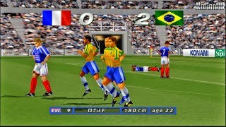 World Soccer Jikkyou Winning Eleven 4 [PS1] gameplay (BRA🇧🇷 x FRA🇫🇷)