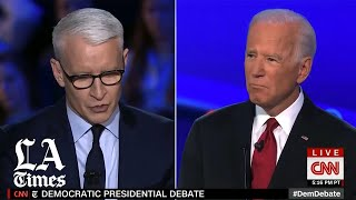 Biden defends his son during the Democratic debate in Ohio