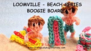 Rainbow Loom Band BEACH/SWIM BOOGIE/SURF BOARD EASY Charm Tutorials/How To Make By Crafty Ladybug