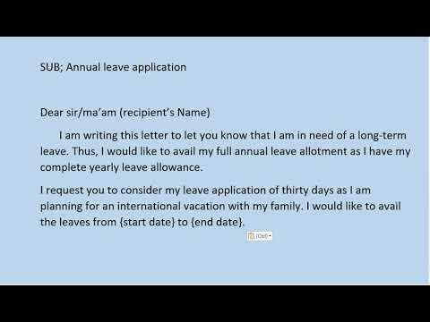 How To Write Leave Application For Office? (Samples) Annual leave application