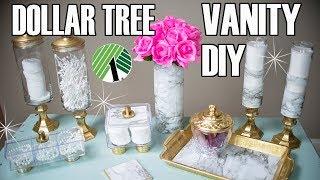 DOLLAR TREE DIY BATHROOM DECOR ⭐ MARBLE BATHROOM VANITY