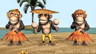 Happy Birthday Video E-Cards, Funny birthday greetings video animation were cartoon Monkey singing birthday song Happy Birthday Verjaardag