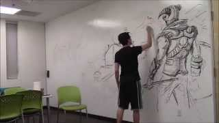 Amazing HUGE Skyrim drawing!!! Using only an expo marker [How-to Time Lapse]