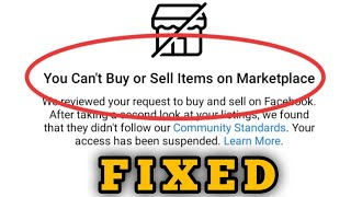 Fix You Can't Buy or Sell Items on Marketplace Facebook Problem Solved