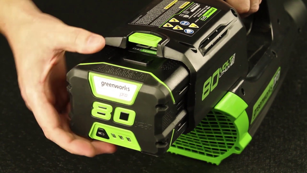 Greenworks Pro 80V Cordless Blower Battery Install