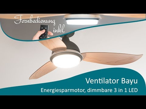 Energiespar Deckenventilator Bayu 122 cm mit LED Beleuchtung