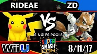 Smash Con 2017 Smash 4 - EDAX | Rideae (Pikachu) vs INC | ZD (Fox) Wii U Pools