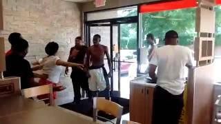 Crazy fight outside/inside Burger King