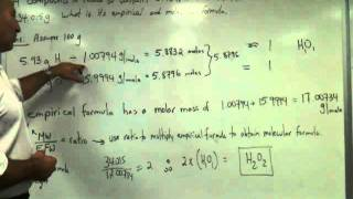 Calculation Of Molecular Formula From Percent Composition And Molecular Weight