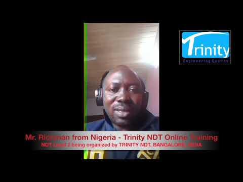 Trinity NDT online Training Courses review by Mr Richman from ...