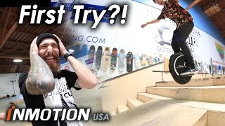 Pro Skateboarders Learn To Ride Electric Unicycle, Insane Tricks Day One!