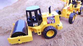 construction vehicles toys  build a road at mountain sand | Grader | Dump truck | Excavator