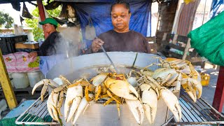 Jamaican Street Food In Kingston!! 🦀SPICY CRAB POT + Jerk Pan Chicken In Jamaica 🇯🇲