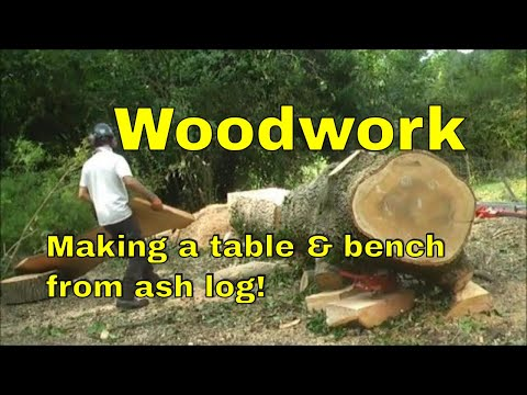 Making furniture from ash wood.