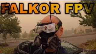 Drone flying through smoke.