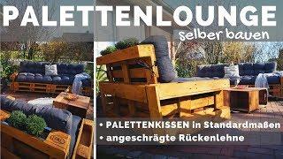 Paletten Lounge selber bauen + mit Palettenkissen - Palettenmöbel DIY Anleitung + angeschrägte Lehne