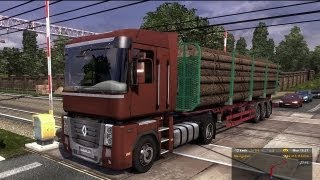 Euro Truck Simulator 2 - Renault Magnum Transporting Logs from Poznan to Szczecin