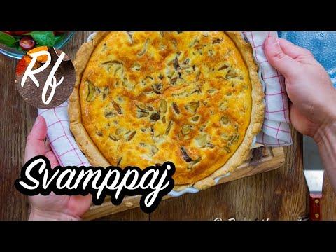 Paj med svamp och ost. Du kan ta valfri matsvamp som champinjon, ostronskivling, kantareller, Karljohan, shiitake eller annan matsvamp.>