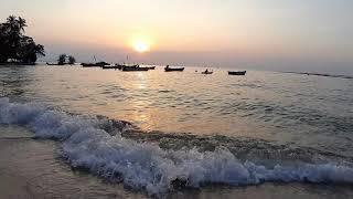 Море. Закат. Лодочки. Паттайя. Таиланд. (Видео без авторских прав)