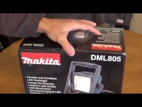 Makita DML805 LXT 18 volt Lithium ion cordless flood light unboxing - HD