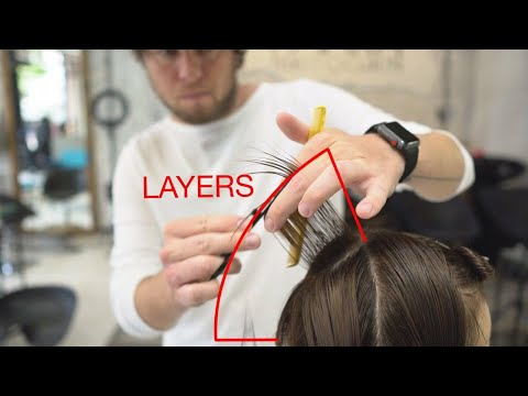 how to cut: round layers with triangular graduation, short women haircut
