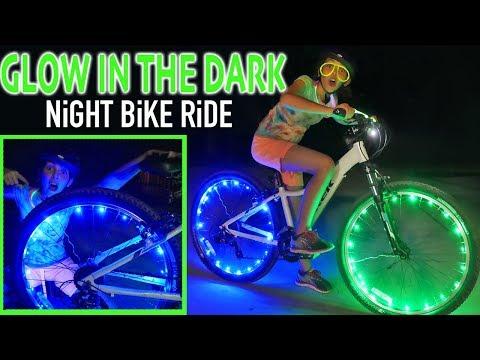 Glow In The Dark Night Bike Ride   BEST BIKE WHEEL LIGHTS   Kids Crafts