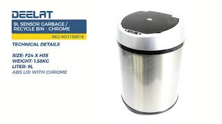 9L Sensor Garbage/Recycle Bin - Chrome
