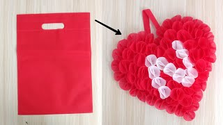 Roses Heart Making With ClothBag |Valentines Day Gift |DIY | Best Out Of Waste | ValentinesDay Craft