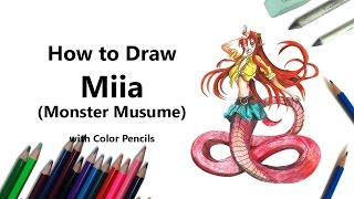 Miia  - (Monster Musume: Everyday Life with Monster Girls) - How to Draw Miia from Monster Musume with Color Pencils [Time Lapse]
