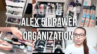 IKEA ALEX 5 DRAWERS ORGANIZATION | Affordable Makeup Storage + Acrylic Organizers | Jackie Ann