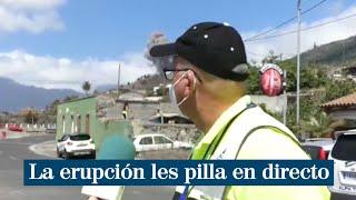 """Les pilla en pleno directo la erupción del volcán de La Palma: """"¡Hostia, vámonos!"""""""