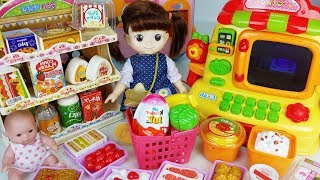 Baby doll mart Convenience Store and Microwave toys cooking play - 토이몽