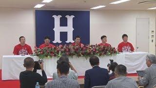広島が初の3連覇、9度目V緒方監督らが記者会見