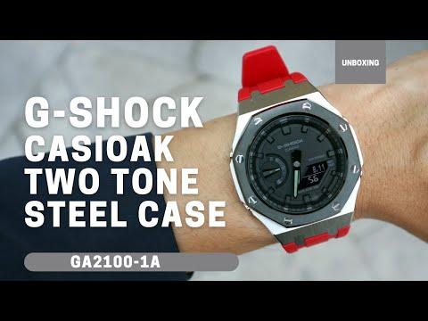 CasiOak GA2100 Two-Tone Metal Bezel Fluorine Rubber Watch Strap Length for Casio G-Shock GA-2100/2110