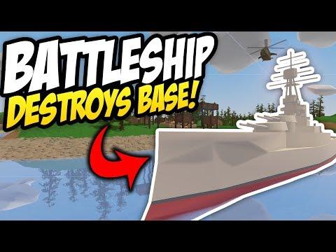 BATTLESHIP DESTROYS BASE - Unturned Base Raid | Epic Battleship Battle!