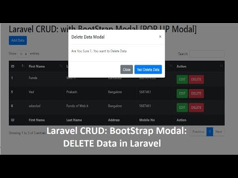 Ajax CRUD operations in Laravel 5 4 with Modal & Pagination